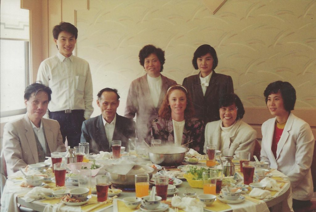 Lisa and relatives have lunch in Fatsan, 1991